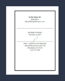 SAMPLE TRANSCRIPT COVER PAGE