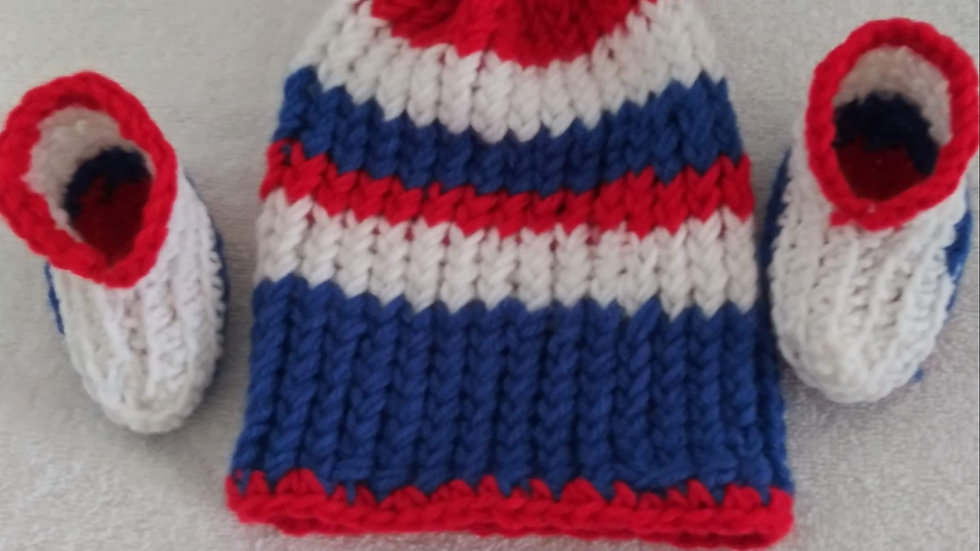 4th of July themed Beanie and Booties