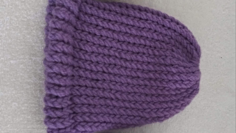 Purple Beanie with matching Booties