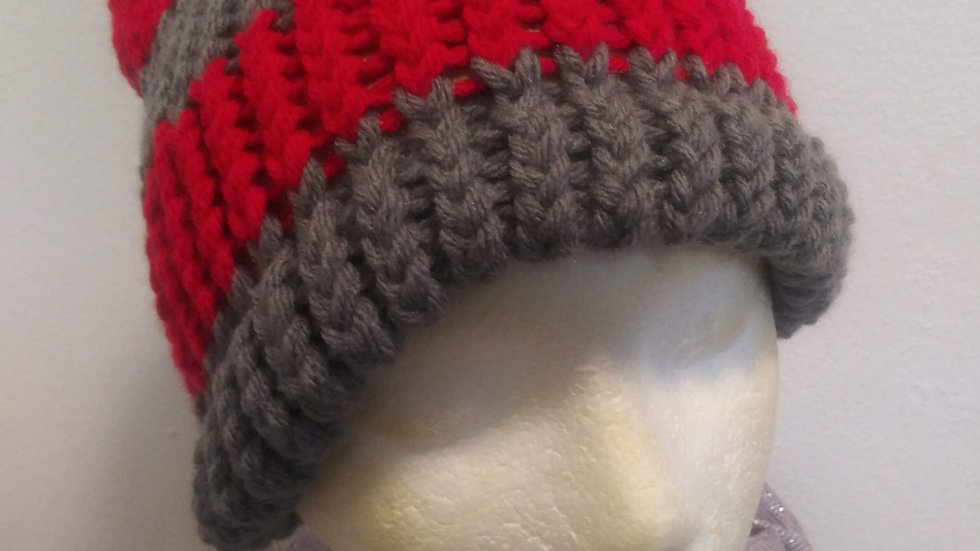 Grey and Red adult beanie
