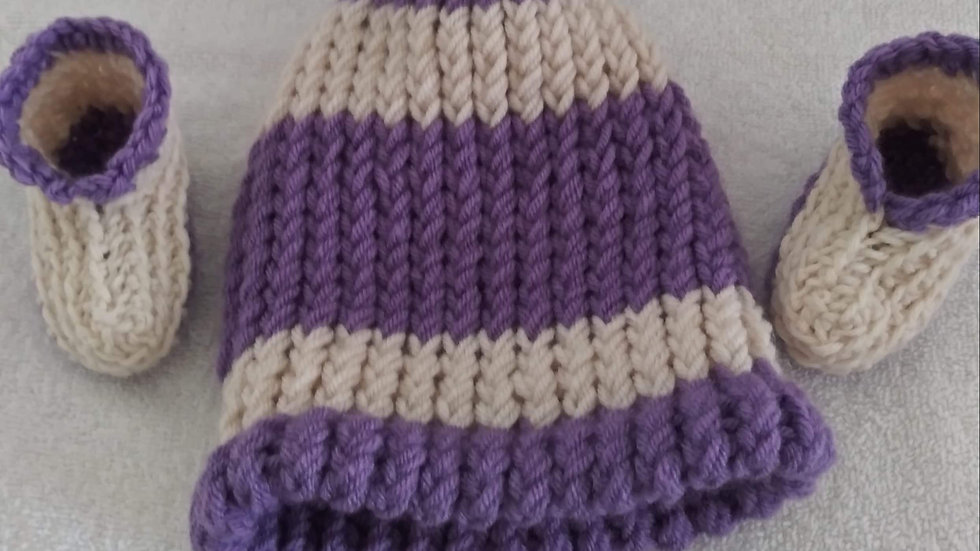 Purple and white Beanie and booties