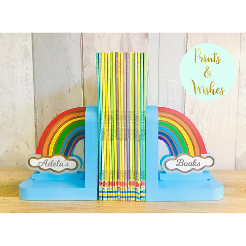 Personalised Handpainted Wooden Bookends - Rainbow