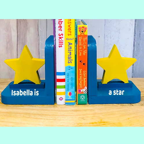 Personalised Handpainted Wooden Bookends - Star