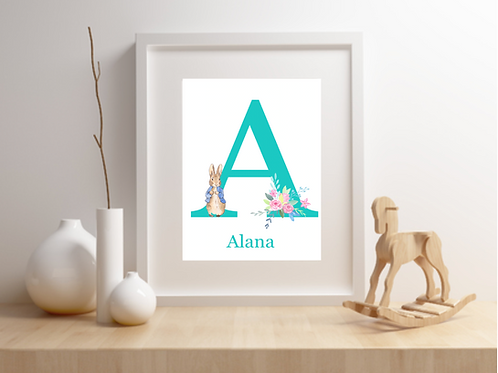 Personalised Peter Rabbit Nursery Print - Choose your own colours