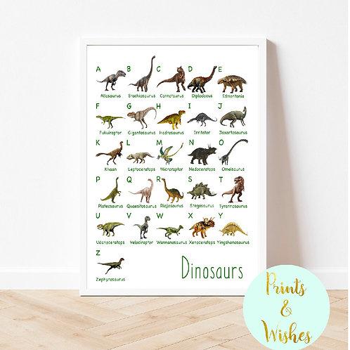 Dinosaur A-Z Personalised Print