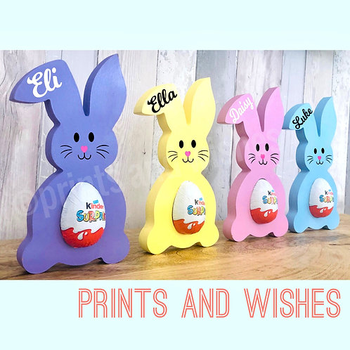 Personalised Wooden Bunny Kinder or Creme Egg Holder