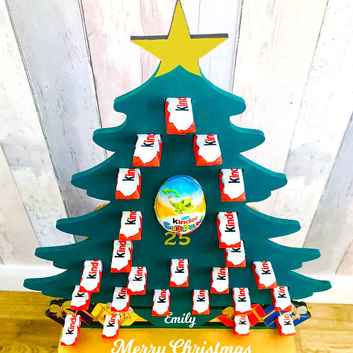 Personalised Wooden Advent Calendar - Christmas Tree - Hand painted