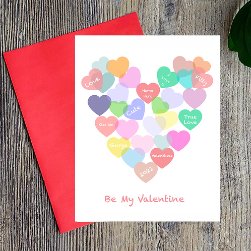 Be My Valentine - Personalised Heart Card
