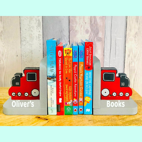 Personalised Handpainted Wooden Bookends - Train
