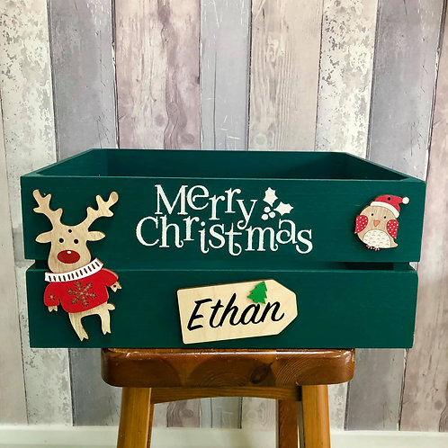 Personalised Large Christmas Crate - Christmas Box