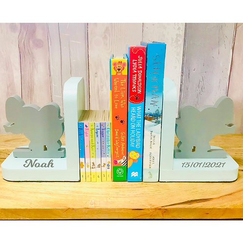 Personalised Handpainted Wooden Bookends - Elephants