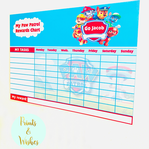 Personalised Reward Charts - Paw Patrol, Frozen, Thomas, Peppa, Toy Story & more