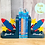 Thumbnail: Personalised Handpainted Wooden Bookends - Space Rocket