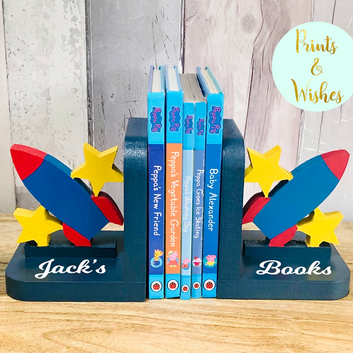 Personalised Handpainted Wooden Bookends - Space Rocket