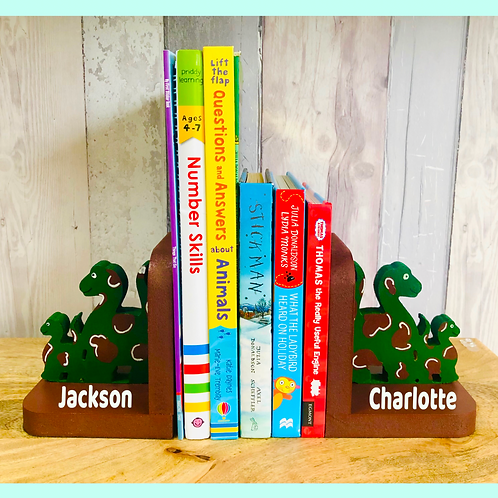 Personalised Handpainted Wooden Bookends - Dinosaurs
