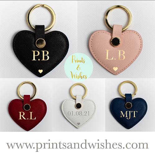 Genuine Leather Personalised Heart Keyring