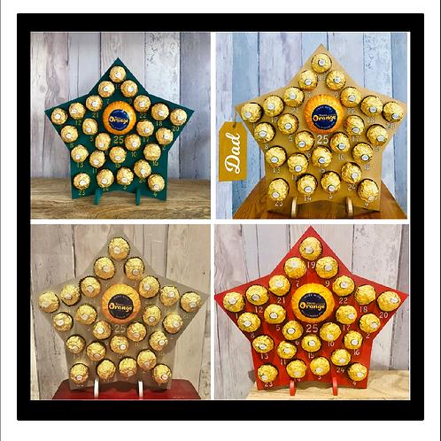Star Christmas Wooden Advent Calendar - for Ferrero Rocher - Gold, Silver, Red o