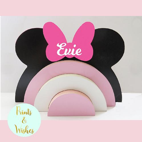 Personalised Stacking Rainbow- Minnie & Mickey