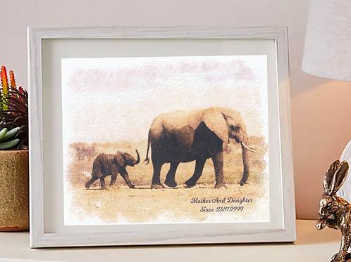 Mother & Daughter Elephant Print