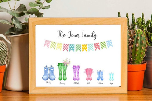Personalised Family Wellie Print