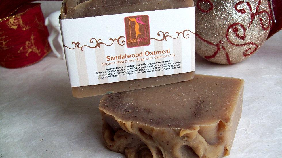 Organic Sandalwood Oatmeal Soap  with Coconut Milk
