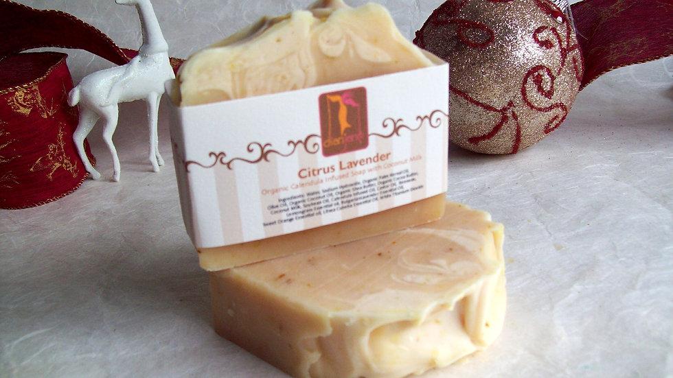 Organic Citrus Lavender Soap with Calendula petals and Coconut milk