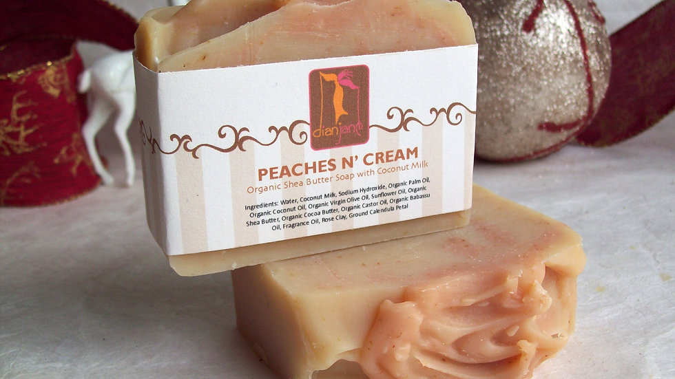 Organic Fresh Peaches n' Cream  Soap with Coconut Milk
