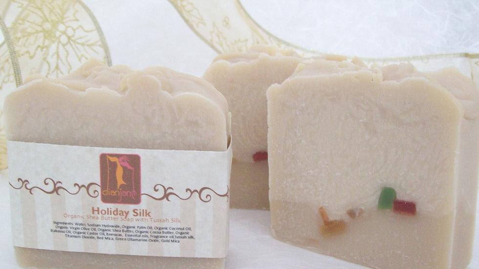 Organic Holiday Silk Soap with Tussah Silk