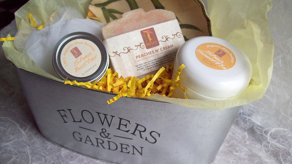 Peaches and Cream Organic Spa Floral Gift Tin