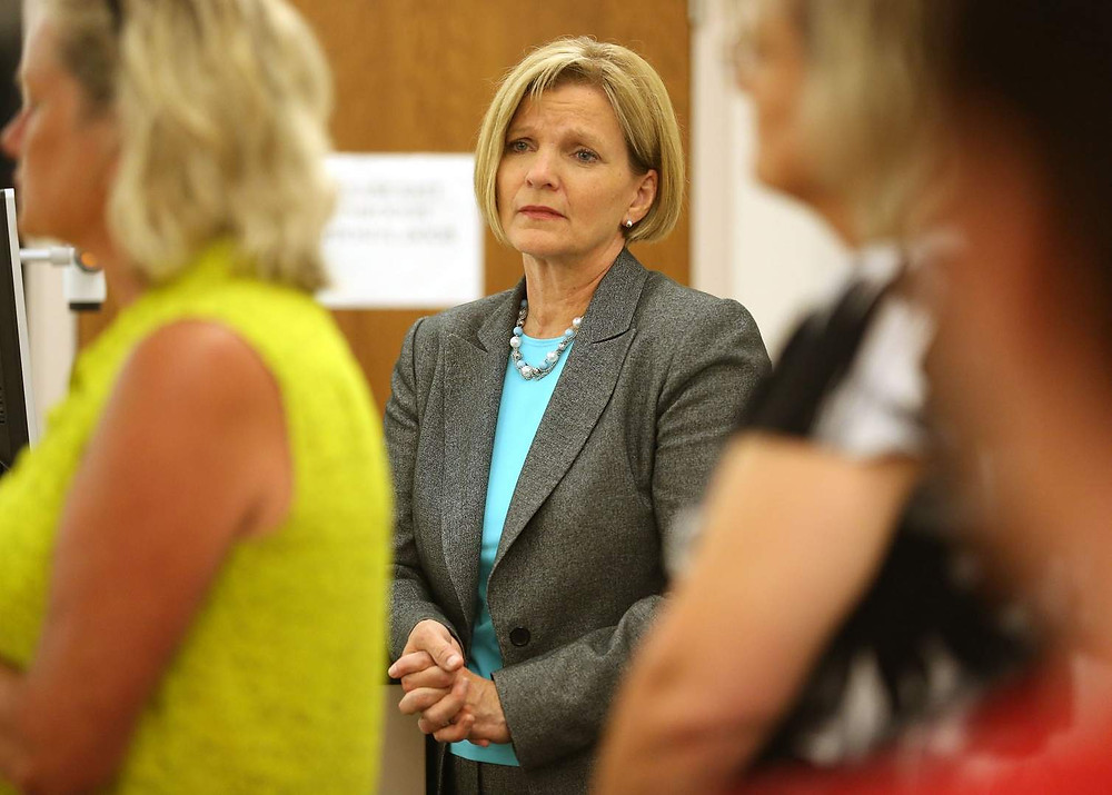 State Sen. Liz Mathis listens to home health care providers discussing billing challengers during a news conference on the difficulties facing care providers and their clients after the first three months of managed care of Medicaid in the state of Iowa at the Kirkwood Training and Outreach Service Center in Marion on Thursday, June 30, 2016. (Cliff Jette/The Gazette)