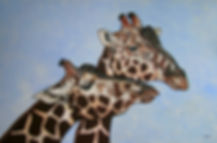 Giraffes Tanzania, canvas, DEAU Fine art - animal artist