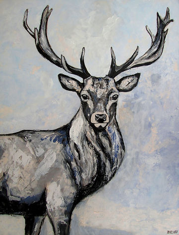 Red deer stag, canvas, DEAU Fine Art