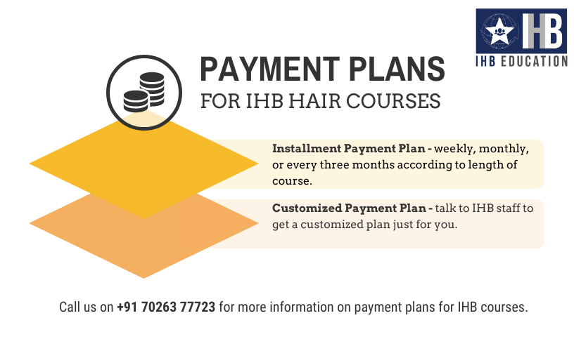 A guide on payment plans available for IHB courses, along with the IHB logo and telephone number
