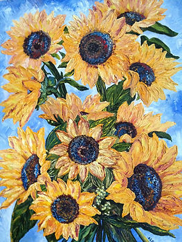 Olga Papkovitch works on canvas