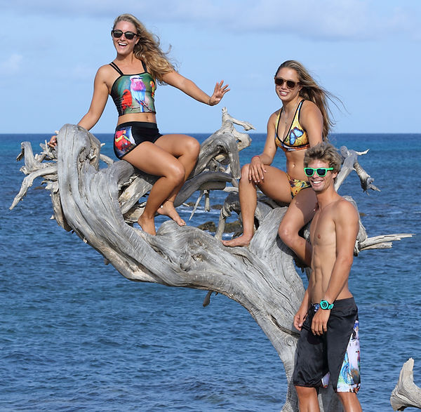 Nicole van der Velden, Nathalie Zach, Phillip Kervel modeling for Olga Papkovitch