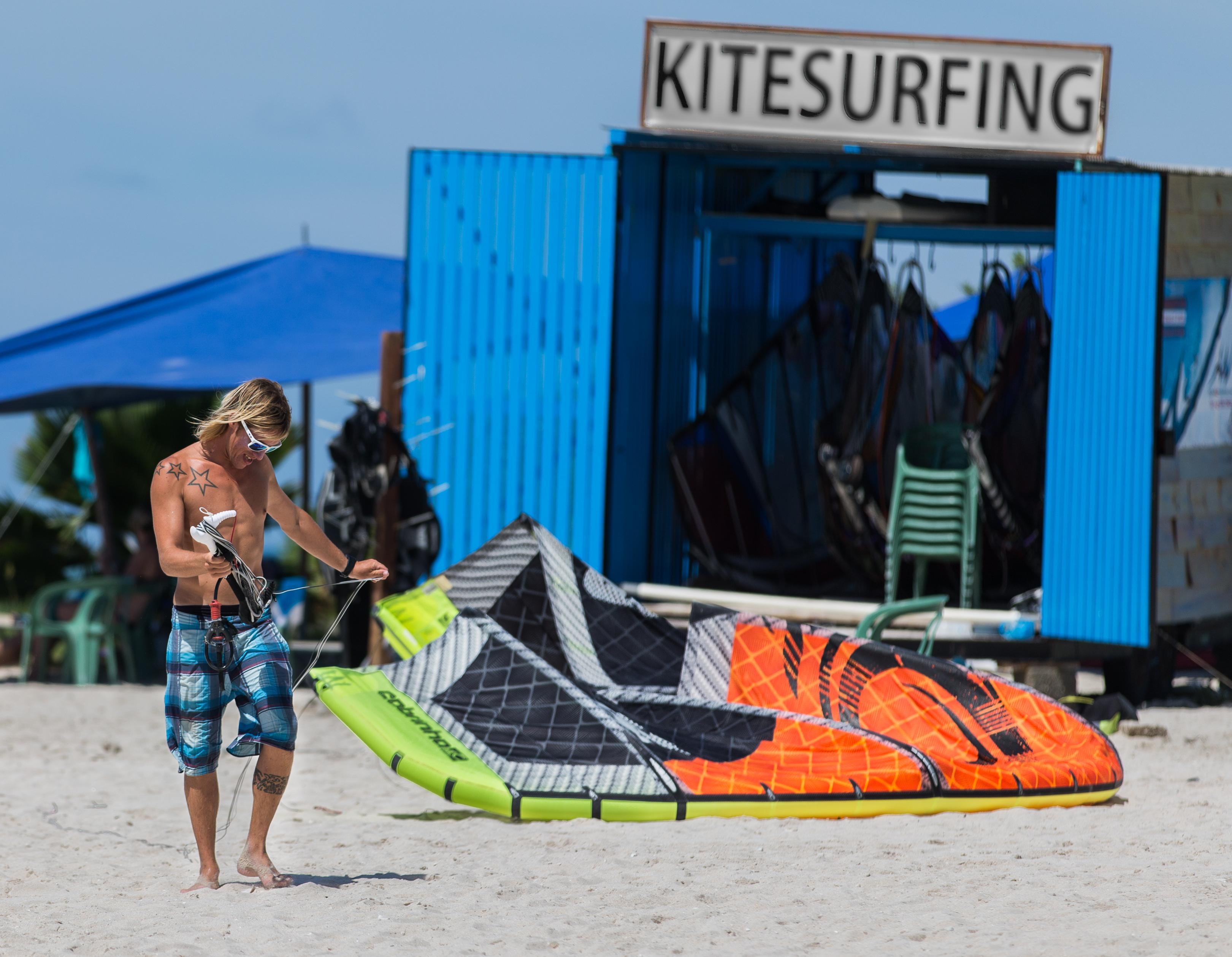Kitesurfing on an Aruba Beach
