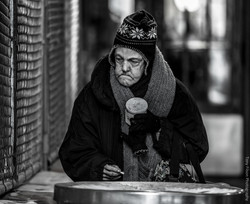 Homeless Woman coffee and cigarette