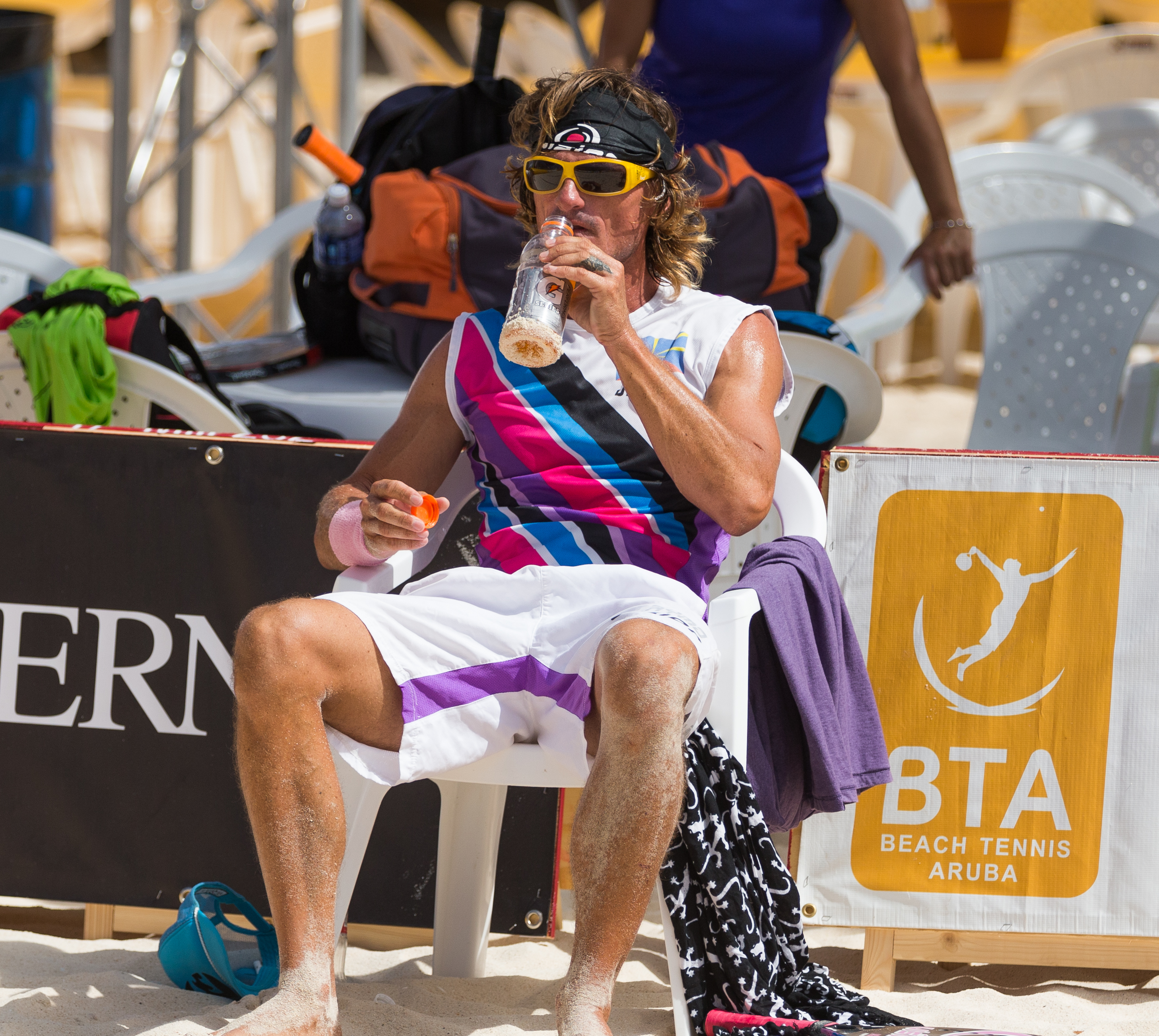 Beach Tennis Player Drinking Water