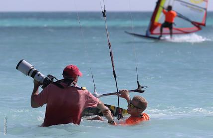 Tony Filson shooting in the water with Jos Waterreus from Vela Aruba