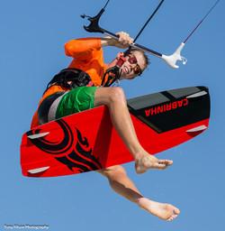 Jos Waterreus kitesurfing in Aruba