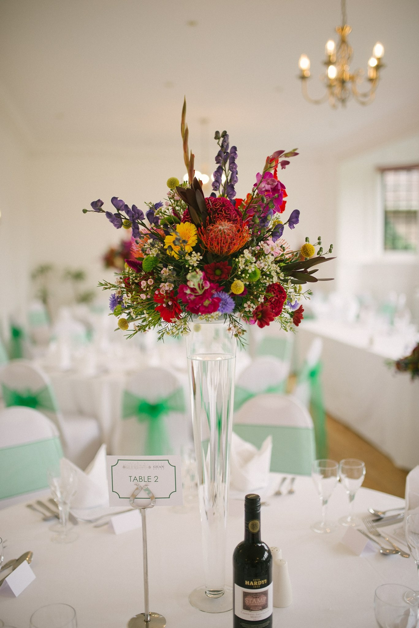 Tall Colourful Wedding Centrepiece
