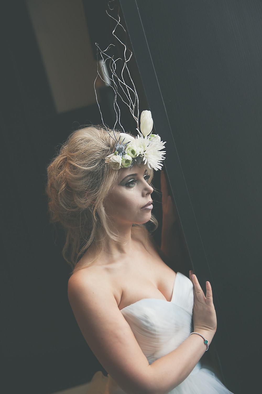 winter Bride, ice queen Bride, dramatic Bride, alternative florals, flower crown