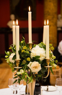 Gold Floral Candelabra with Peonies