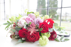 Bridal Bouquet in Reds and Pinks