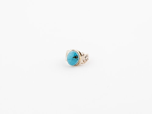 Signed Turquoise Silver Ring with Stamping