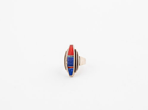 Vintage Geometric Inlay Ring, Lapis and Coral