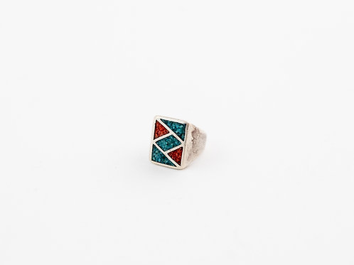 Bold Vintage Inlay Silver Ring
