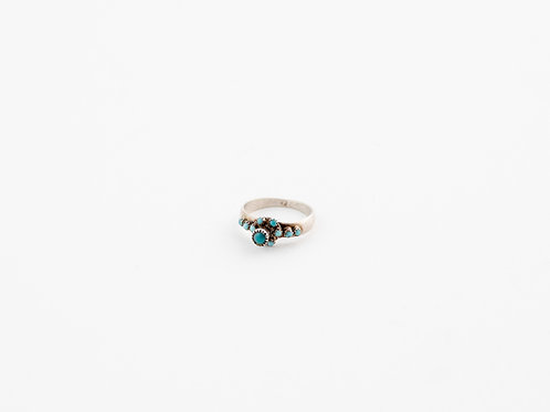 Dainty Bohemian Style Vintage Turquoise Silver Ring