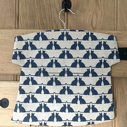 Cats Linen Peg Bag - Inky Blue