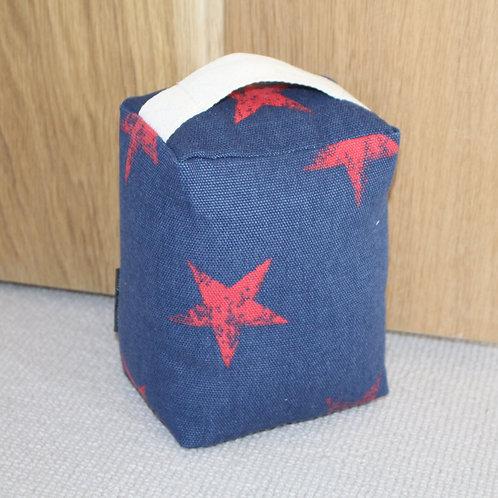 Red Stars on Deep Blue Cotton Doorstop